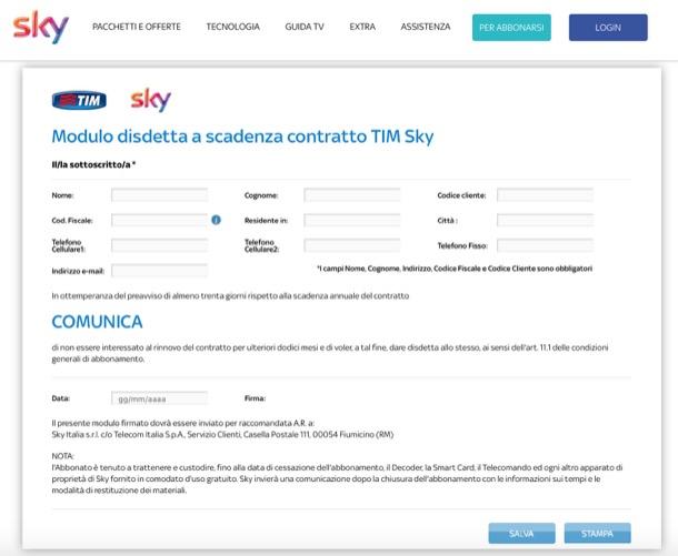 Prevede Un Costo Di Disattivazione Di 11,53 Euro E Il Rimborso Di Eventuali  Promozioni Come Quello Per Il Contratto Sky Per La Sola Pay TV.